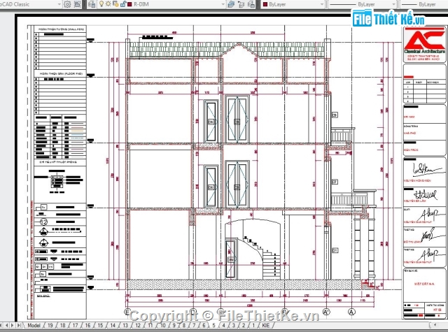 Mẫu Nhà ở 3 tầng 8x11 5m Full Hồ Sơ (File autocad + sketchup)
