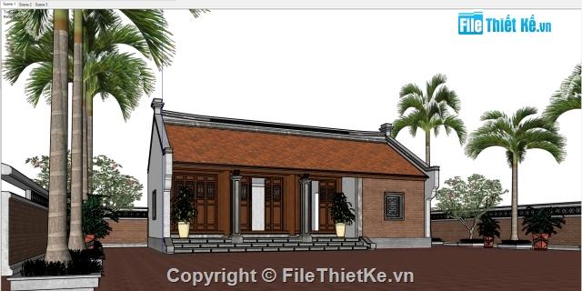 Model sketchup 2014 + Vray 2 0 + Picasa 3 Thiết kế nhà thờ họ 3 gian